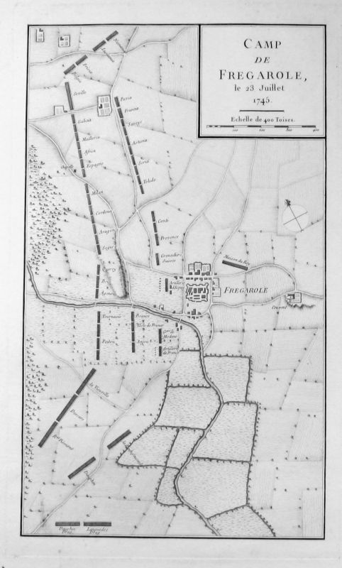 1775 - Frugarolo Alessandria Piemonte Kupferstich acquaforte map Pezay Italia
