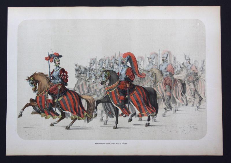 1853 Commandant der Escorte mit 30 Mann. - Festzug Bern Lithographie