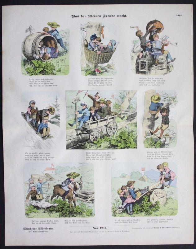 1890 Kinderspiele Kinderspiel Spiel Jungen Mädchen Kinder Münchener Bilderbogen