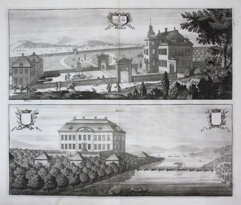 1710 - Akeshov Adö Södermanland Uppland Kupferstich Dahlberg engraving