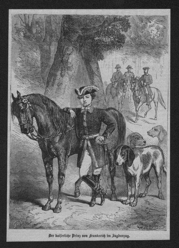 1865 - Portrait kaiserliche Prinz Napoleon IV Bonaparte Holzstich wood engraving