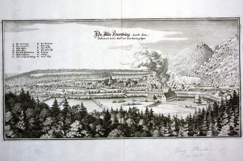 Ca. 1650 Bad Harzburg Salzwerk Ansicht Kupferstich antique print Merian