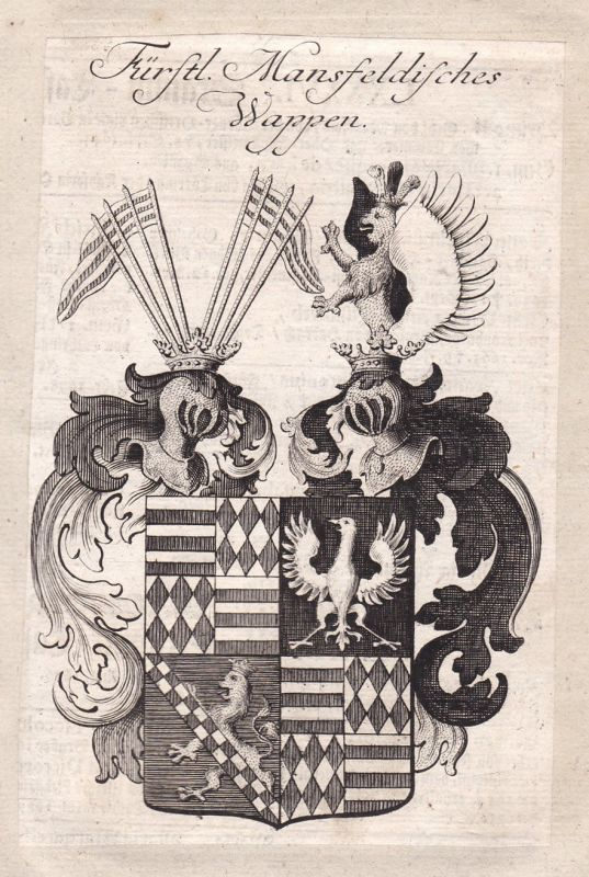 1750 Mansfeld Sachsen-Anhalt Mansfeld-Südharz Wappen coat of arms Kupferstich