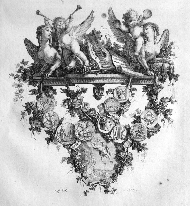 1779 Engel angel Medaille Statue medals Musik music Kupferstich antique p 156870