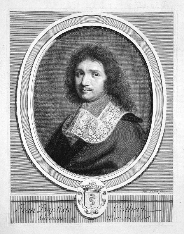 Jean-Baptiste Colbert Staatsmann statesman Portrait Kupferstich engraving