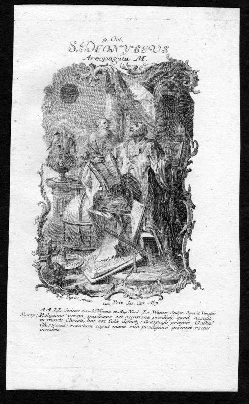 Dionysios der Areopagite 9. Oktober Kupferstich Heiliger Heiligenbild Holy Card