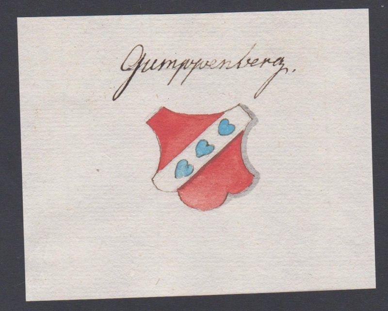 18. Jh. Gumppenberg Adel Handschrift Manuskript Wappen manuscript coat of arms