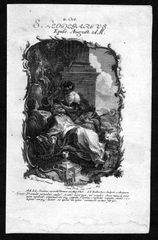 1750 Leodegar von Autun 2. Oktober Kupferstich Heiliger Heiligenbild Holy Card