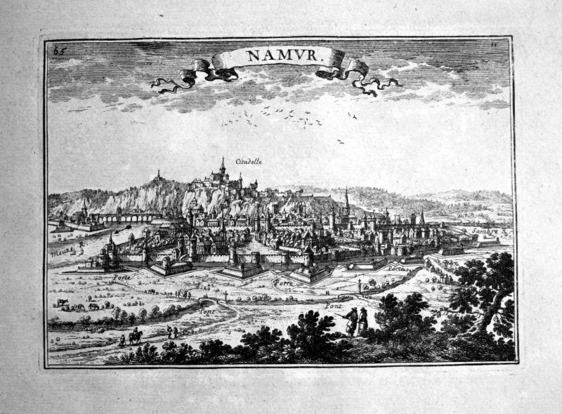 1680 Namur Belgium estampe gravure Kupferstich Beaulieu engraving