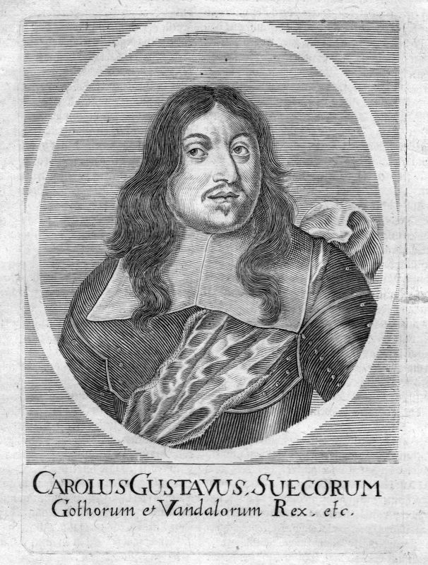 Um 1700 Karl X Gustaf kung Sverige Sweden Portrait Kupferstich antique print