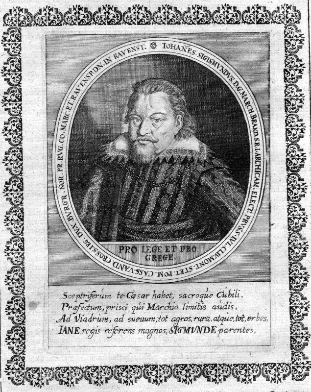Ca. 1650 Johann Sigismund Brandenburg Portrait Kupferstich antique print