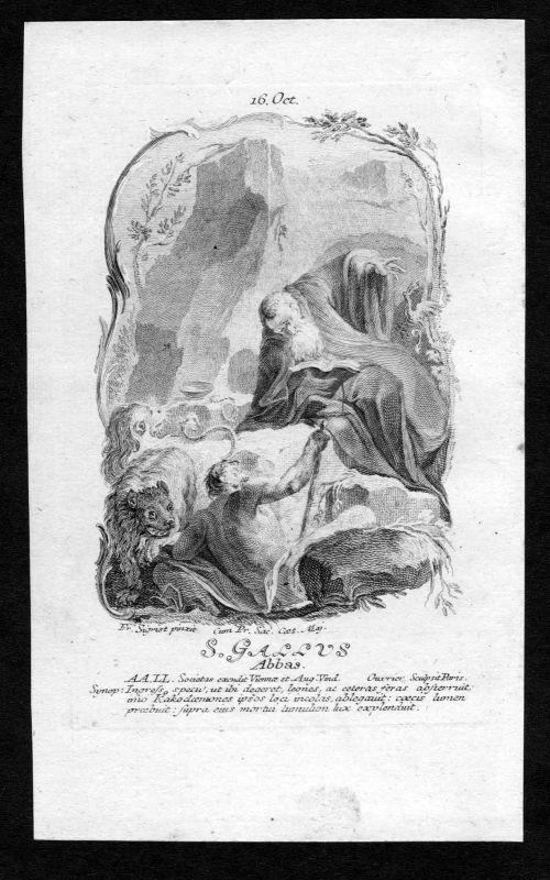 1750 Einsiedler Gallus 16. Oktober Kupferstich Heiliger Heiligenbild Holy Card
