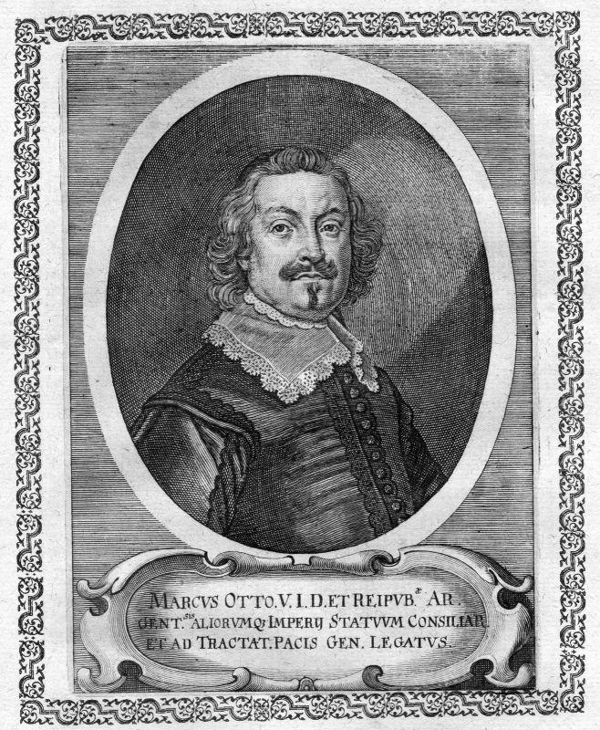 Ca. 1650 Markus Otto Jurist Straßburg Portrait Kupferstich antique print