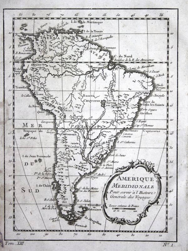 1750 South America Brasil Chile Paraguay map Kupferstich antique print Bellin