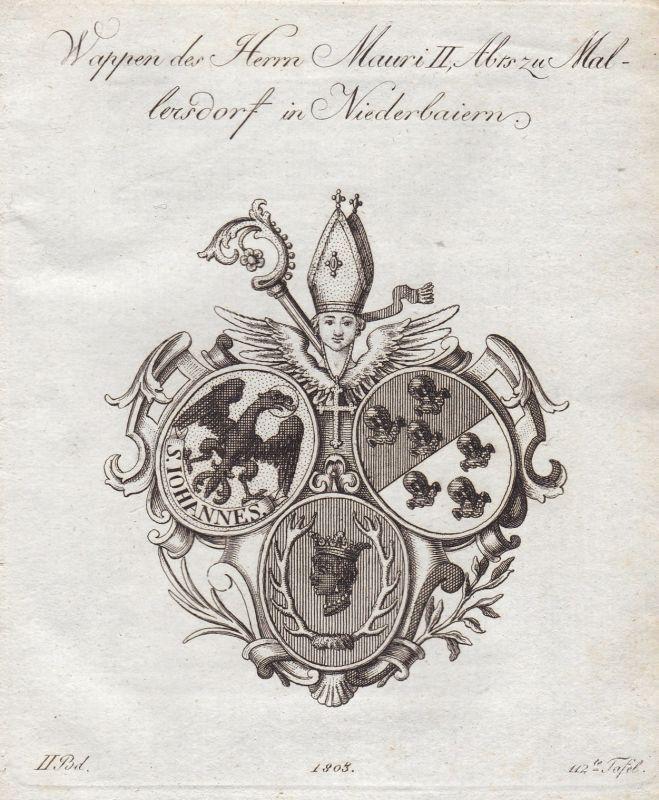 1803 Mallersdorf-Pfaffenberg Niederbayern Wappen coat of arms Kupferstich
