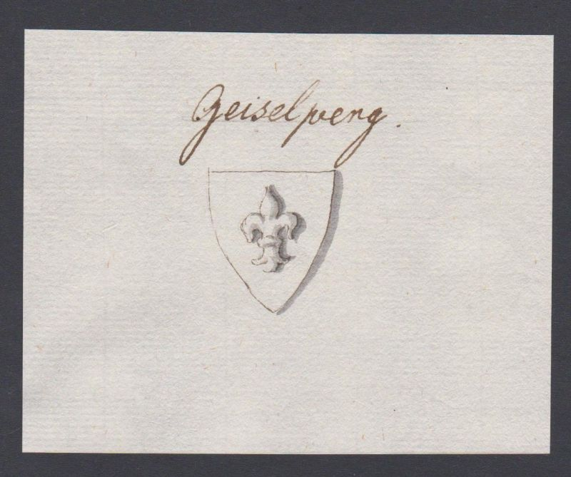 18. Jh. Geiselberg Wappen Handschrift Manuskript manuscript coat of arms