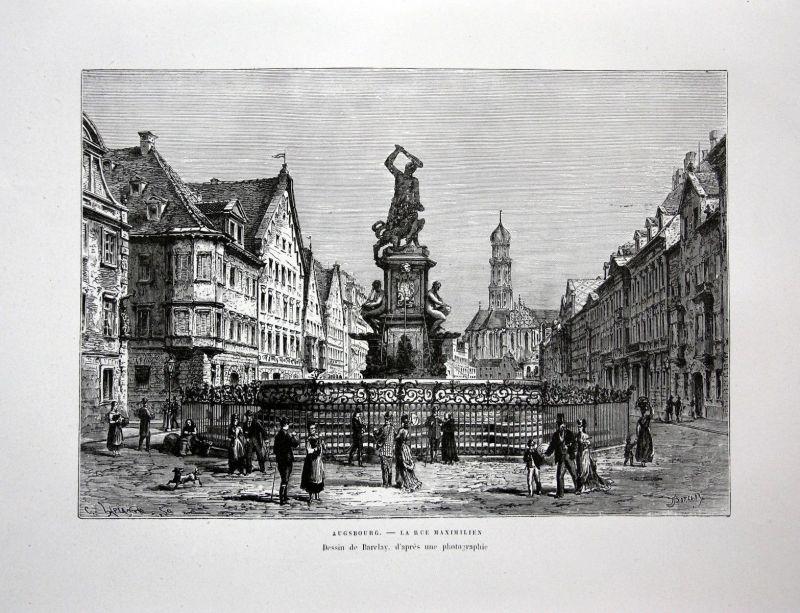 1870 Maximilianstraße Augsburg Herkulesbrunnen Ansicht Holzstich antique print