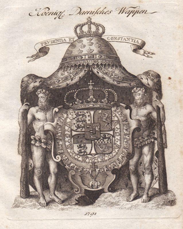 1791 Dänemark Denmark Danmark Wappen coat of arms Kupferstich antique print