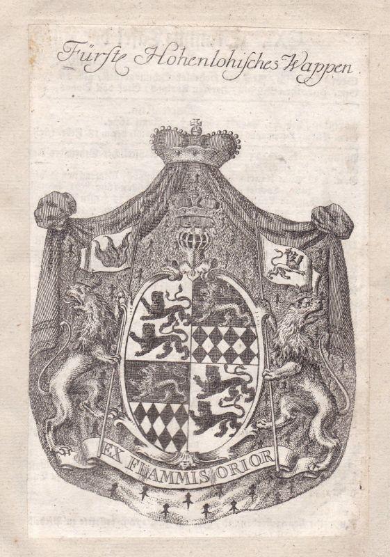 Hohenlohe Baden-Württemberg Wappen Adel coat of arms Kupferstich antique print