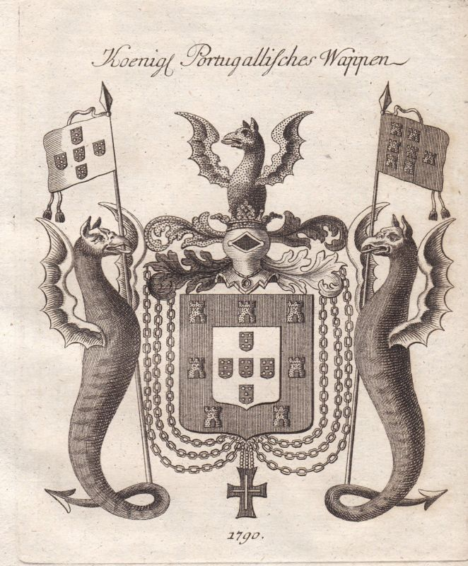 1790 Portugal königlich royal Wappen coat of arms Kupferstich antique print