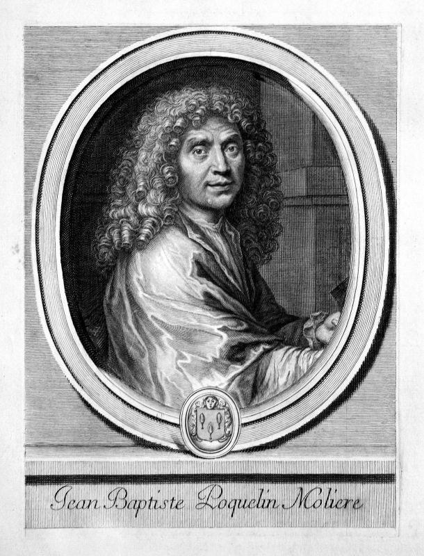 Molière Jean-Baptiste Poquelin acteur actor Portrait Kupferstich engraving