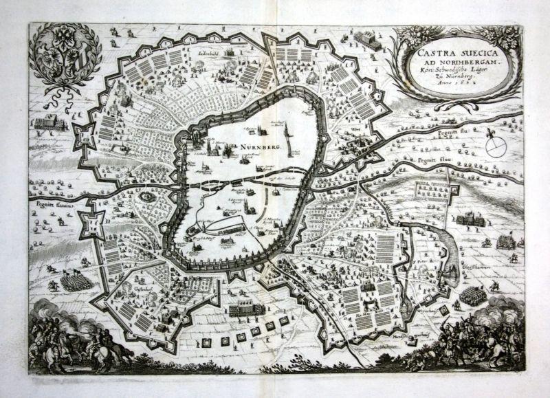 1680 Nürnberg Schweden Lager Ansicht map Karte Kupferstich antique print Merian