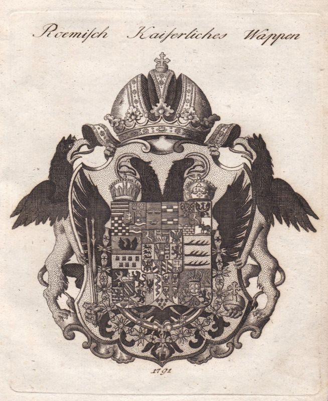 1791 Rom Roma Rome Reichsadler Wappen coat of arms Kupferstich antique print