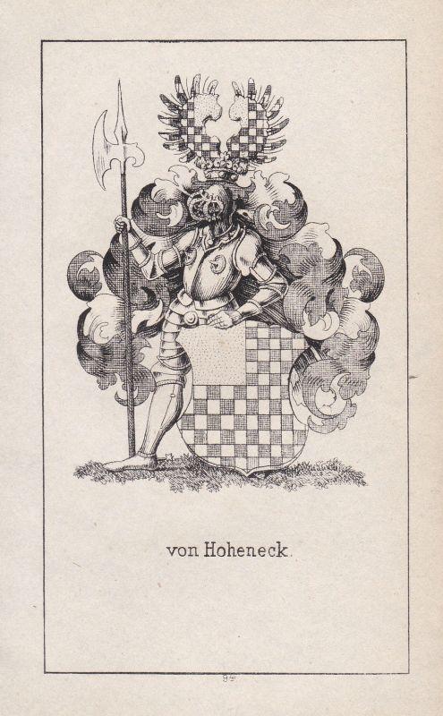 Ca. 1840 Hoheneck Pfalz Wappen heraldry Heraldik coat of arms Adel