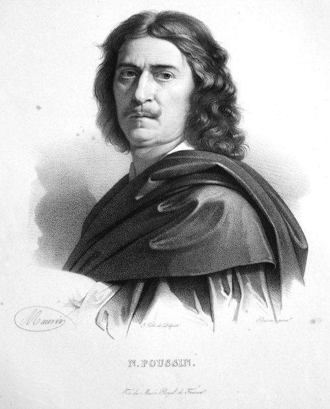1860 Nicolas Poussin Maler painter peintre France Lithographie Maurin Portrait