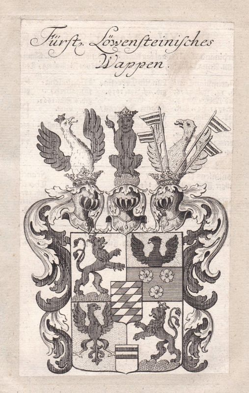 1750 Löwenstein-Wertheim Wappen Adel coat of arms Kupferstich antique print