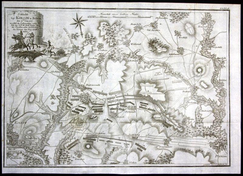 1783 Kolin Schlacht 1757 Tschechien Czech Republic Karte map Kupferstich