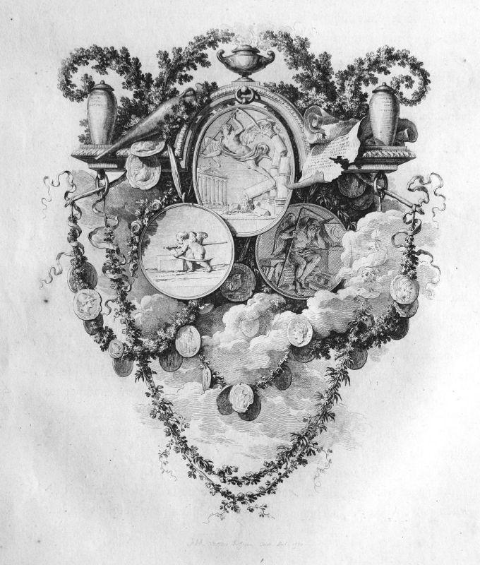 1780 Medaille medal Engel angel Leben live Kupferstich antique print 156868
