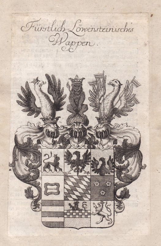 1750 Löwenstein-Wertheim Adel Wappen coat of arms Kupferstich antique print