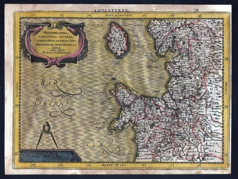 1630 North West England Wales Isle of Man Mercator map Karte Kupferstich