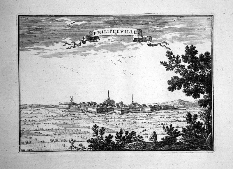 1680 Philippeville Belgium estampe gravure Kupferstich Beaulieu engraving