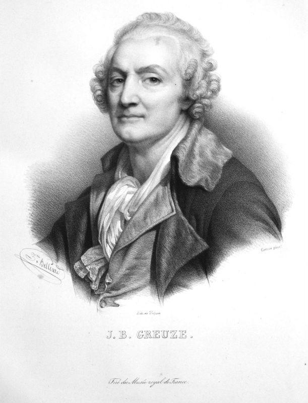 Jean-Baptiste Greuze Maler painter peintre France Lithographie Belliard Portrait