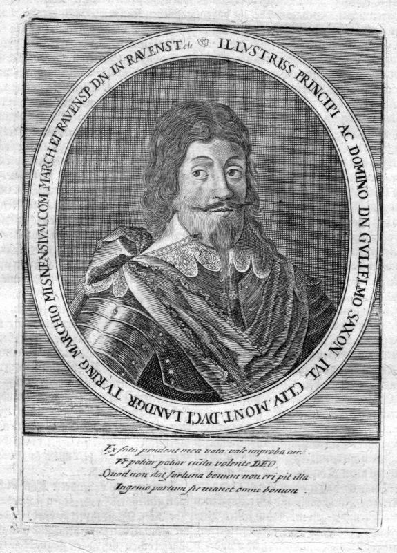 Ca. 1650 Wilhelm von Sachsen-Weimar Herzog Portrait Kupferstich antique print