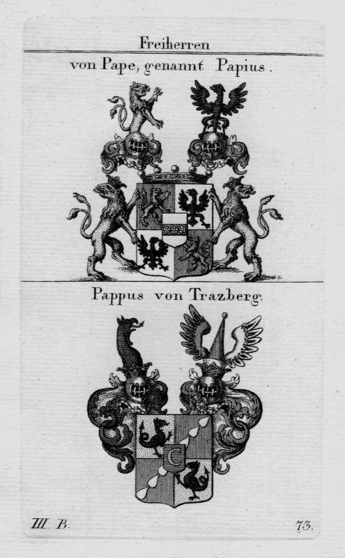 1820 - Pape Papius Pappus Trazberg Wappen Adel coat of arms heraldry Kupferstich