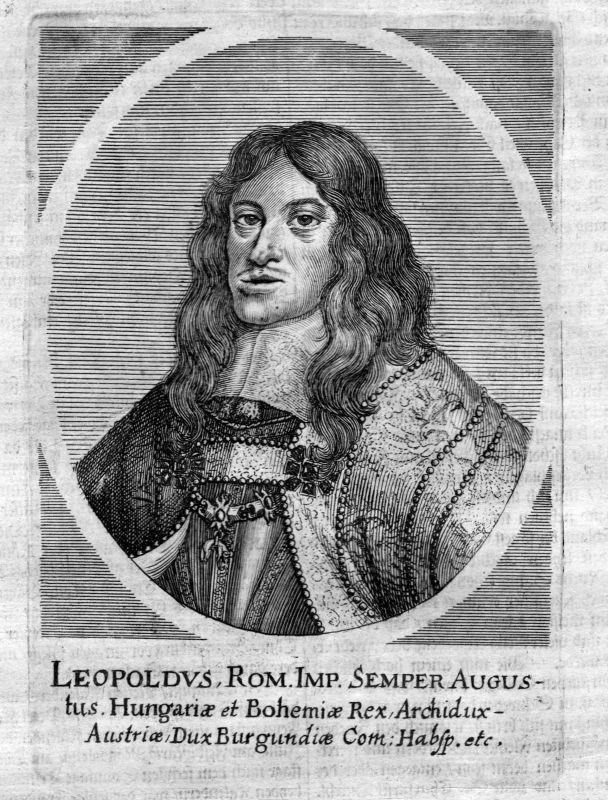 Um 1700 Leopold I HRR Holy Roman Empire Portrait Kupferstich antique print