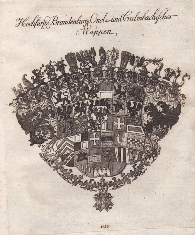 Kulmbach Brandenburg Crailsheim Wappen coat of arms Kupferstich antique print