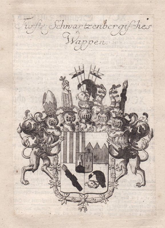 Schwarzenberg Franken Seinsheim Wappen coat of arms Kupferstich antique print