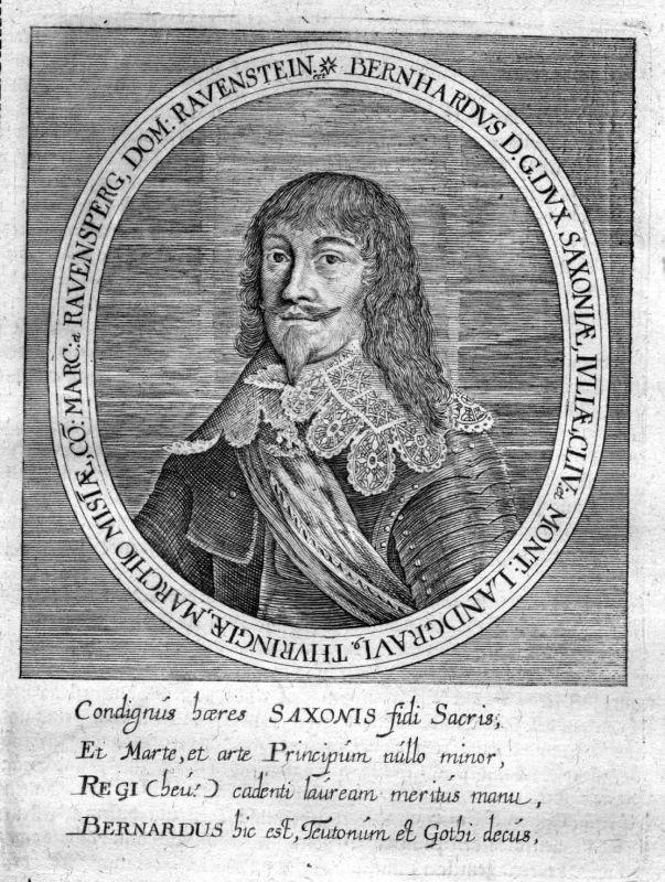 Ca. 1650 Bernhard von Sachsen-Weimar Portrait Kupferstich antique print