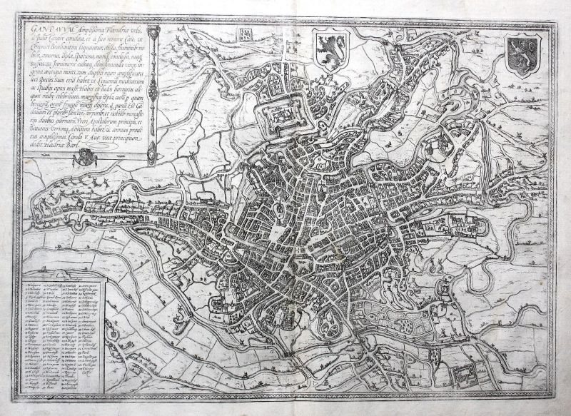 1572 Gent Belgique gravure carte map Kupferstich antique print Braun Hogenberg