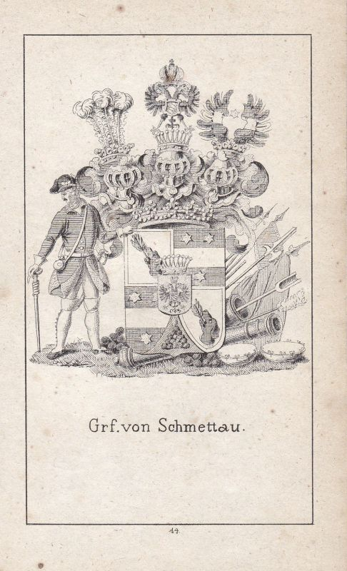 1840 Schmettau Silesia Schlesien Wappen Heraldik heraldry coat of arms Adel