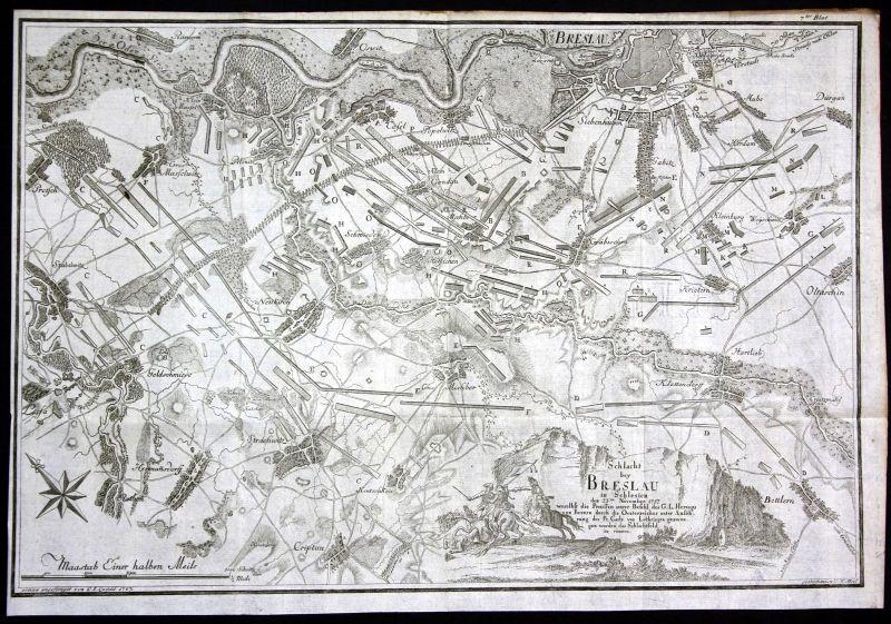 Ca. 1760 Breslau Wroclaw Schlacht 1757 Polen Poland Karte map Kupferstich