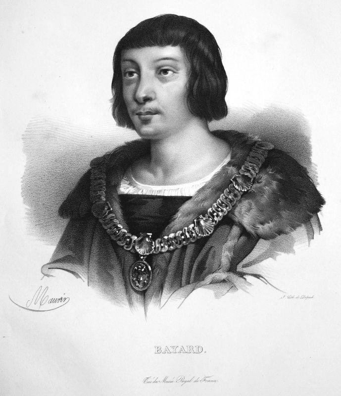 Pierre du Terrail Feldherr commander commandant Lithographie Maurin Portrait