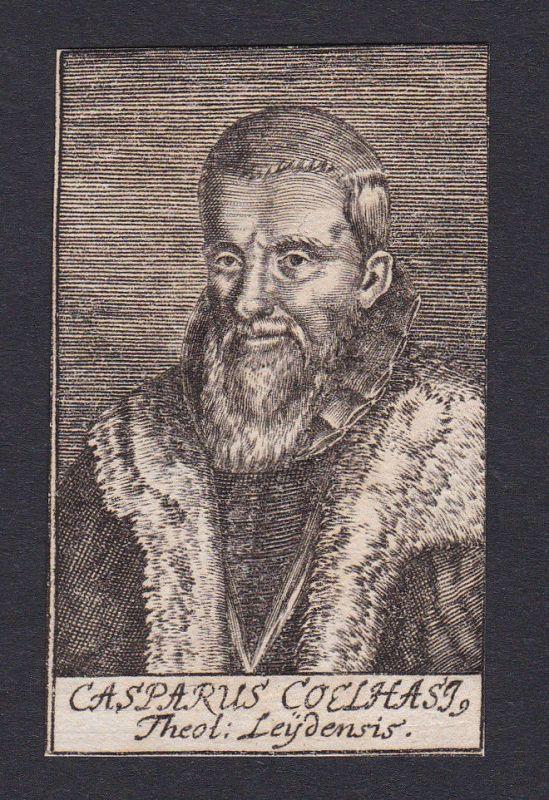 1680 Caspar Coolhaes / theologian Theologe Leiden Leyden Portrait Kupferstich