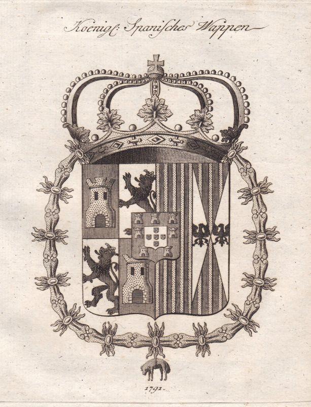 Spanien Spain Espana königl. royal Wappen coat of arms Kupferstich antique print