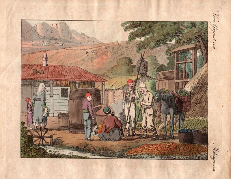 Thal Krim Crimea inhabitants Bewohner Tataren Tatars Bertuch Kupferstich 1800