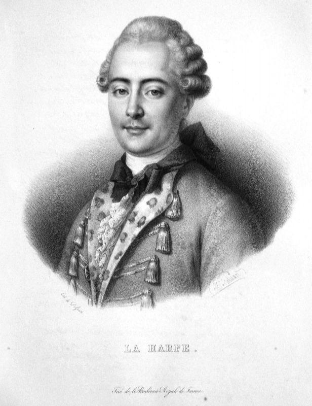 1860 Jean-François de La Harpe Dichter poète poet Lithographie Belliard Portrait